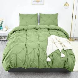 Darby Home Co Duvet Cover Queen, Grey Soft Duvet Cover Set, Farmhouse Textured Comforter Cover Hotel Pintuck Bedding Duvet Cover 3 Pieces in Green