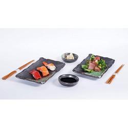 17 Stories 6 Piece Sushi Dinner Set Rectangular Sushi Plate Sauce Dish & Chopsticks Sushi Dinner Set For Two (Black Green) Porcelain/Ceramic Wayfair