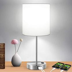 Latitude Run® Touch Control Table Lamp, 3-Way Dimmable Lamp w/ 2 Fast Charging USB Ports & Power Outlet, Bedside Lamp, Nightstand Lamp in White