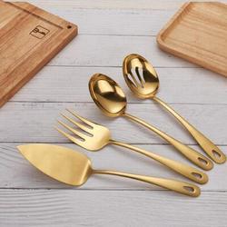 Mercer41 Stainless Steel Golden Titanium Plated Flatware Serving Set 4 Pieces, Cake Server Cold Meat Fork Pierced Serving Spoon Serving Spoon