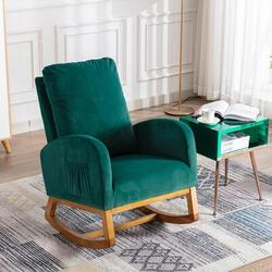 Corrigan Studio® Esra Rocking Chair Glider Upholstered/Polyester or Polyester Blend/Fabric in Green, Size 39.76 H x 27.16 W x 37.0 D in   Wayfair