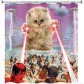 Trinx Funny Alien Kitten Cat Shower Curtain, UFO On The Beach Catching Human Shower Curtains in White, Size 70.0 H x 69.0 W in   Wayfair