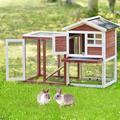 Tucker Murphy Pet™ TOPMAX Wooden Pet House Rabbit Bunny Wood Hutch House Dog House Chicken Coops Chicken Cages Rabbit Cage,Auburn Wood House Wayfair