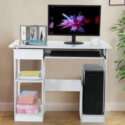 Latitude Run® Simple Frame Computer Desk, 35.4×18.9×28.3, White Modern Minimalist Desk Creative Desk, Writing Desk, Home Office Desk in Brown/White