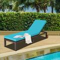 Latitude Run® Patio Chaise Lounge Chair Outdoor Rattan Lounger Recliner Chair-Turquoise Metal in Blue/Green, Size 35.5 H x 81.0 W x 24.0 D in