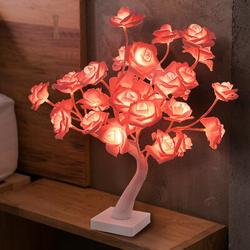 House of Hampton® Rose Pink Purple Flower Lamp Girl Bedroom Lamp Flower Table Lamp Tree Lamp in Green, Size 17.73 H x 15.0 D in   Wayfair