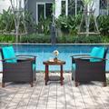 Winston Porter 3pcs Patio Wicker Rattan Conversation Set Outdoor Furniture Set W/Turquoise Cushion Wood/Natural Hardwoods/Wicker/Rattan   Wayfair