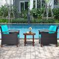 Winston Porter 3pcs Patio Wicker Rattan Conversation Set Outdoor Furniture Set W/Turquoise Cushion Wood/Natural Hardwoods/Wicker/Rattan | Wayfair