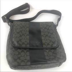 Coach Bags | Men Coach Heritage Stripe Map Messenger Bag | Color: Black/Gray | Size: 11 (L) X 12 (H) X 2 14 (W)