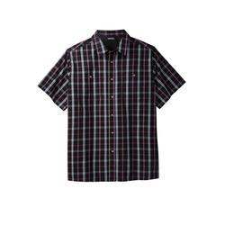 Men's Big & Tall Short Sleeve Printed Sport Shirt by KingSize in Dark Purple Check (Size 6XL)