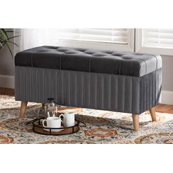Baxton Studio Hanley Modern and Contemporary Grey Velvet Fabric Upholstered and Walnut Brown Finished Wood Storage Ottoman - Wholesale Interiors HY2A19B046S-Grey Velvet-Otto