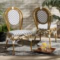 Baxton Studio Alaire Classic French Indoor and Outdoor Grey and White Bamboo Style Stackable 2-Piece Bistro Dining Chair Set - Wholesale Interiors WA-4094V-White/Grey-DC
