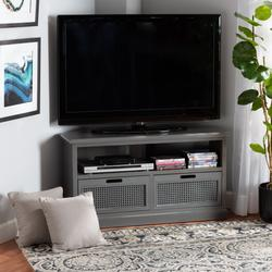 Baxton Studio Sheldon Modern and Contemporary Vintage Grey Finished Wood and Synthetic Rattan 2-Drawer Corner TV Stand - Wholesale Interiors JY20B069-Grey-TV Stand
