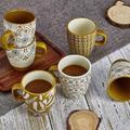 TREASURECABINET Coffee Mugs Set Of 6,Mug Gift Set For Mom Dad,14 Ounce Ceramic Mug Set,Novelty Coffee Mug For Tea,Cappuccino,Latte,Coffee in Yellow