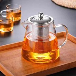 TREASURECABINET Glass Teapot w/ Removable Infuser, Flower Tea Kettle Stovetop Safe, Blooming & Loose Leaf Tea Pot, Size 3.3 H x 4.9 W in | Wayfair
