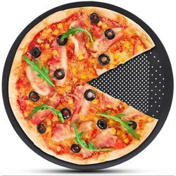 futurecitytrading Pizza Baking Sheet,15 Inch Round Pizza Pan w/ Holes, Perforated Pizza Crisper Cooking Pan, Steel Pizza Tray For Oven in Black