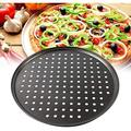 """GoodDogHousehold 2 Pack Pizza Pan Round Pizza Board + Pizza Cutter + Pizza Slicer 12.5"""" Carbon Steel Pizza Baking Pan Non-Stick Cake Pizza Crisper Server Tray Stand FoSteel"""