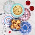 JingJiuTrade 6 Pack Porcelain Dinner Plates - 10.5 Inch Diameter - Pizza Pasta Serving Plates Dessert Dishes - Microwave, Oven, & Dishwasher Safe