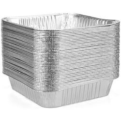 "lameishuju Aluminum Pans Disposable, 8 X 8"" Square Disposable Aluminum Foil Pans Stackable Heat Resistant, (50 Pack) Disposable Foil Tray For Baking"