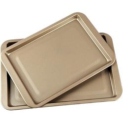 lameishuju Non-Stick Cookie Baking Sheets Pan,15-Inch & 13-Inch Carbon Steel Baking Trays,Warp Resistant Roasting Pan Set,2 Pieces in Black/Gray