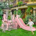 Toozoky Slide & Swing Set, 4 In 1 Toddler Climber Slide Playset Baby Swing Freestanding Slide w/ Basketball Football Hoop in Pink | Wayfair