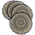 qizhongtrade Flower Round Placemat - Farmhouse Jute Table Mats w/ Pompom Tassel 15 Inch Place Mat For Dining Room Kitchen Table DecorPolyester