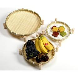 Bay Isle Home™ Handmade Bamboo Small Bamboo Baskets w/ Wooden Shelves, Storage Baskets, Snack Baskets, Vegetables/Fruits, Bread, Storage Baskets