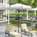 Alcott Hill® Pedrick 8.5' Drape Market Umbrella Metal in White, Size 98.8 H x 100.8 W x 100.8 D in   Wayfair 84C23D60D9D8455EB0D038354807BD69