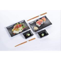 Latitude Run® 6 Piece Sushi Dinner Set Rectangular Sushi Plate Sauce Dish & Chopsticks Sushi Dinner Set For Two ( Spray) Porcelain/Ceramic in Black