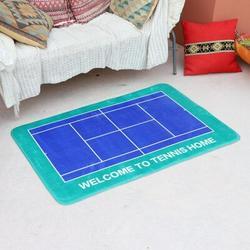 Latitude Run® 150*180Cm Tennis Court Printed Flannel Anti-Skid Mat,Blue-Green Natural Fiber in Blue/Green/Navy   Wayfair