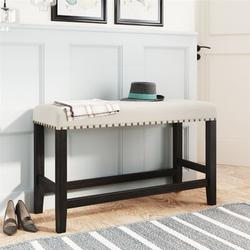 Red Barrel Studio® Wooden Upholstered Dining Bench For Small Places, Espresso+ Beige Solid + Manufactured Wood/Wood/Manufactured Wood in Brown