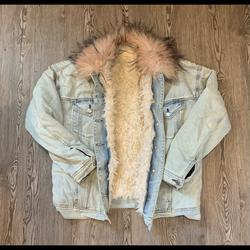 American Eagle Outfitters Jackets & Coats | Fur Lined Denim Jacket With Pink Trim | Color: Blue/Pink | Size: M