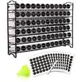 romeidata Spice Rack w/ 72 Empty Square Spice Jars, 340 Spice Labels w/ Chalk Marker & Funnel Complete Set,For Countertop,Cabinet Or Wall Mount