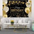 The Holiday Aisle® Happy Birthday Backdrop Banner Extra LargeAnd Gold Sign Poster For Men Women Birthday Anniversary Party Photo Booth Backdrop Background Banner