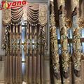 Rideau Semi-occultant brodé de luxe, palais nordique, pour salon, marron/bleu Chenille, géométrie,