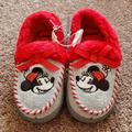 Disney Shoes | Disney Minnie Mouse Synthetic Fur Slip On Shoes | Color: Gray/Red | Size: 13g