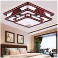 Plafonnier rectangulaire en bois massif de style chinois, luminaire de plafond antique pour salon,