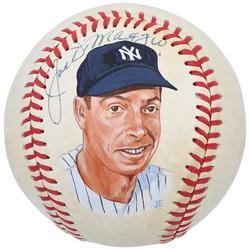 """Joe DiMaggio New York Yankees Autographed Baseball with Hand Painted Artwork"""