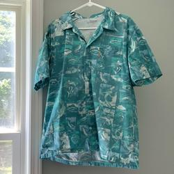Columbia Shirts   Columbia Pfg Men'S Short Sleeve Vented Button Up   Color: Blue/Green   Size: M