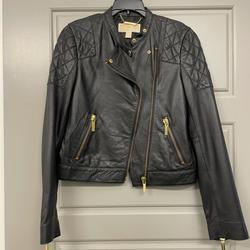 Michael Kors Jackets & Coats | Michael Kors Black Quilted Leather Jacket | Color: Black/Gold | Size: Xs