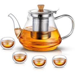 Battle Cow Glass Teapot w/ Extra Double Wall Cups, Removable Stainless Steel Infuser, Borosilicate Glass Tea Kettle, Blooming & Loose Leaf Teapots
