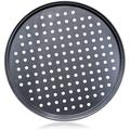SpicyMedia Pizza Steel Pan For Oven,Pizza Crisper Pan w/ Holes 12 Inch, Nonstick Round Pizza Baking Sheet Oven Tray in Black | Wayfair