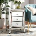 Rosdorf Park Gossner Contemporary Glam & Luxe Mirrored 3-Drawer Nightstand in Gray, Size 26.0 H x 18.0 W x 14.0 D in | Wayfair