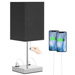 Latitude Run® Gray Bedside Lamp w/ Socket, 3 Way Dimmable Modern Small Table Lamp For Living Room & Office, Bedside Table Lamp w/ Square Shade