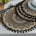 GoodDogHousehold Flower Round Placemat - Farmhouse Jute Table Mats w/ Pompom Tassel 15 Inch Place Mat For Dining Room Kitchen Table DecorPolyester
