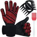 lameishuju BBQ Gloves, Heat Resistant Grill Gloves 1472℉ Cooking Oven Gloves Silicone Non-Slip Insulated Gloves Kitchen Oven Mitts For Baking in Red