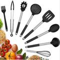 SpicyMedia Silicone Cooking Utensils Set, Kitchen Cookware 8Pcs Nonstick Cooking Spatula Set w/ Stainless Steel Handle in Black | Wayfair
