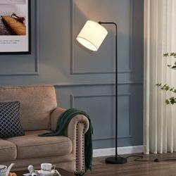 Latitude Run® LED Floor Lamp, Standing Lamp w/ 2 Lampshades, Tall Light w/ Adjustable Lamp Head in Black, Size 63.5 H x 10.3 W x 9.1 D in   Wayfair