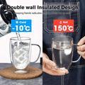 zhong_hua Insulated Coffee Mugs, Glass Tea Mugs,Double Wall Glass Coffee Cups, Tea Cups, Latte Cups, Glass Coffee Mug, Beer Glasses, Latte Mug