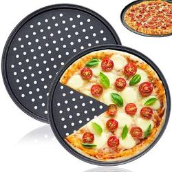 tokyolongco 2 PCS 12 Inch Tray Pizza Pan w/ Holes,Round Pizza Crisper Pan,Non-Stick Pizza Baking Pan For Home Kitchen Oven Baking Steel in Black/Gray